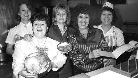 All smiles from these staff members at the Crown and Anchor in 1986. Did you work there? Picture: IV