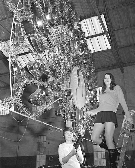 Staff at Irvine Martin Plastics at Martlesham with decorations for the London West End in 1969. Pict