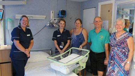 Pictured at the West Suffolk Hospital are Marie Moye, inpatient service manager for maternity; Justy