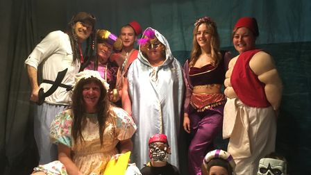 The cast of the Boxted village pantomime, Aladdin, including director Scott Dolling (back row, far l