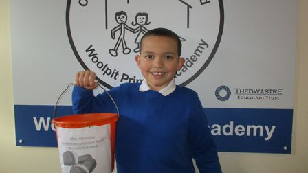Alfie Garwood, who arranged a fundraiser at his school for the children's ward at West Suffolk Hospi