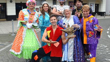 Ann Widdecombe and the rest of the cast of Aladdin, at Lowestoft's Marina Theatre. Photo: Mick Howes