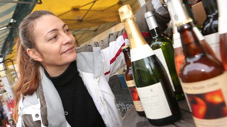 Stacey Nunn at the Dedham Vale Viveyard stall. Picture: SEANA HUGHES
