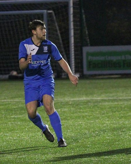 Charlie Holmes got the equaliser for Haverhill Borough. Picture: GARY BROWN