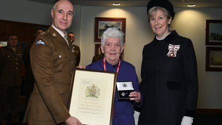 From left: Lieutenant Colonel Stephen Caldwell, Commander of Colchester Garrison Diana Doe, and Jenn