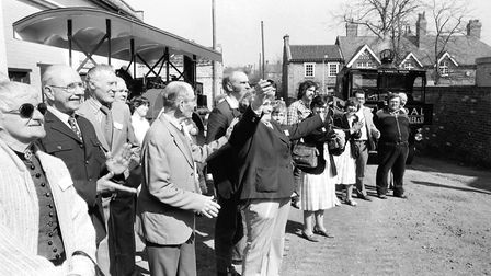 Onlookers cheer as the Long Shop Museum is officially opened