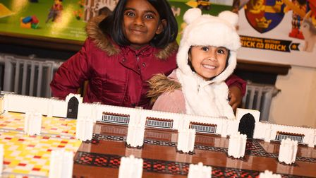 Progress is being made with Bury St Edmunds Lego Cathedral. Left to right, Zara Shahid and Amelia Ma