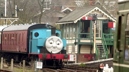 Thomas and Friends at the East Anglian Railway Museum in Chappel. Thomas steams into Chappel station