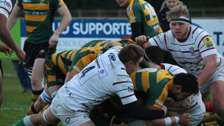 Bury St Edmunds forward Yasin Browne, scoring a try earlier this season, will play at No. 8 for the
