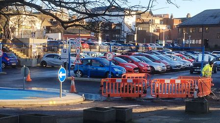 Work to repair the pothole at the Civic Drive car park. Picture: PAUL GEATER
