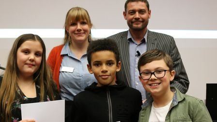 Year 5 & 6 Winners, Grace Cowling-Newell and Frank Porter, Millfields Primary School, with Finley As