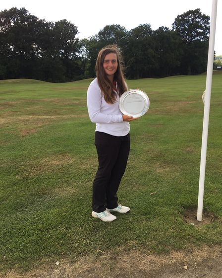 Suffolk golfer and SportsAid Suffolk recipient Lily May Humphreys pictured with her trophy after win