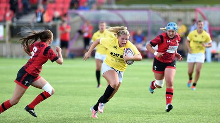 Young rugby player and SportsAid Suffolk recipient Connie Powell in action against Wales at the 2017