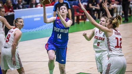 Suffolk basketball player and SportsAid Suffolk recipient Maya Price in action for Great Britain aga