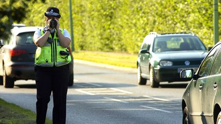 Police checking motorists in Mount Road, Bury St Edmunds. Picture: TUDOR MORGAN-OWEN