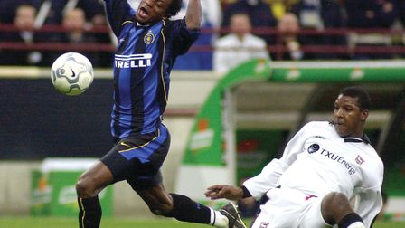 Mohammed Kallon challenges for the ball with Ipswich's Titus Bramble. Picture: AP