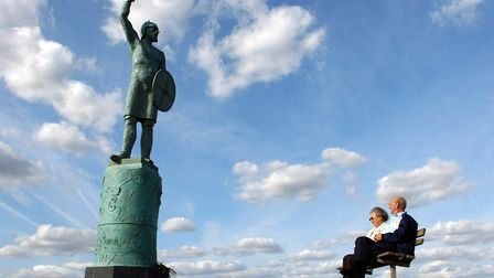 The statue of Byrhtnoth unveiled at Maldon in 2006 to mark the battle with the Vikings. Picture: