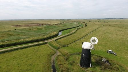 A drone image of part of Halvergate Marshes. Picture: JEFF KEW/RSPB.
