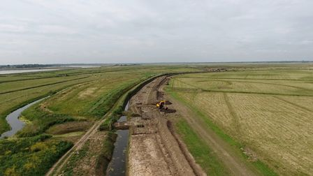 A drone image of some of the Halvergate Marshes project work under way during the summer. Picture: J