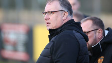 Stowmarket boss Rick Andrews watches on saw his team upset by Kirkley last week. Picture: RICHARD MA