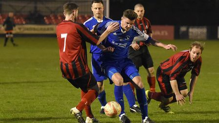 Capel Plough, in blue, can win their eighth straight game this weekend. Picture: ARCHANT