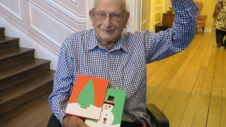 UK Power Networks volunteers helped residents at Stowlangtoft Hall Nursing Home make cards. Picture: