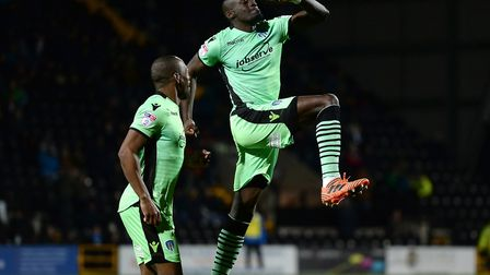 Sanmi Odelusi, celebrating his first goal for Colchester United at Notts County two weeks ago. He wi