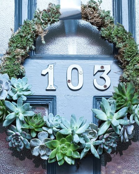 Undated Handout Photo of a door wreath of succulents. See PA Feature GARDENING Cacti. Picture credit