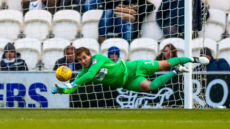 Sam Walker makes a wonderful save during last weekend's 3-1 home win over Exeter City. Picture: STEV