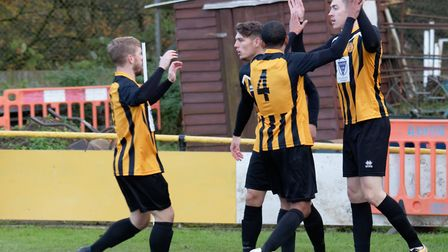 Stowmarket's Josh Mayhew, right, has been in superb scoring form for Stow this season. Photo: PAUL V