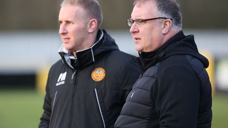 Stowmarket boss Rick Andrews, right, and assistant Paul Musgrove. Picture - RICHARD MARSHAM
