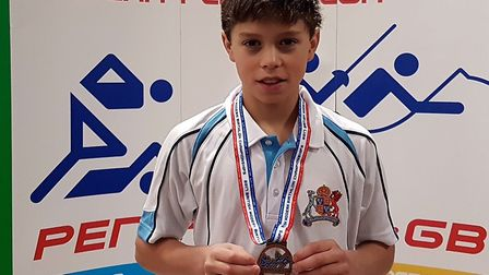 Elliot Gladwell with his gold medal from the British Modern Biathlon Championships in Solihull. Pict