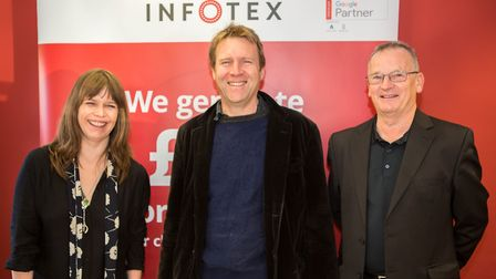 L- R: Morag McInnes and Anthony Agar from event sponsors Infotex and festival organiser Terry Barrow