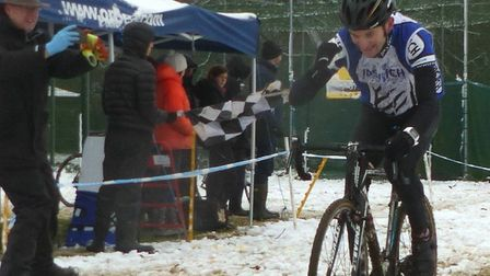 Nick Cook (Ipswich BC) takes the flag at Chantry Park. Picture: FERGUS MUIR