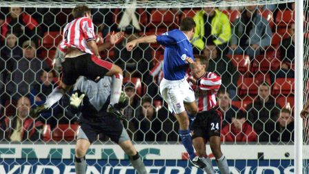 Ipswich Town's Marcus Stewart (right) heads an equaliser against Southampton during the Premiership