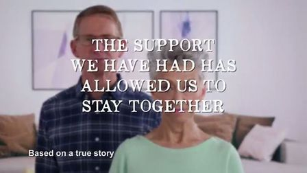 Screenshot from the 'Sheila' case study video for the 55+ Safety Net initiative