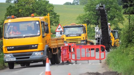 The B1063 where road-worker Aidan Gallagher died in roadworks