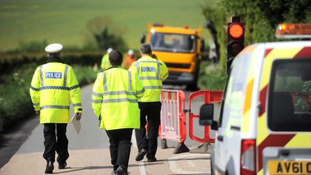 Investigations taking place on the B1063 at Lidgate following the death of Aidan Gallagher