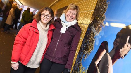 Gabrielle Short (left) and Melanie Lesser with new artwork in Bury St Edmunds. Picture: GREGG BROWN