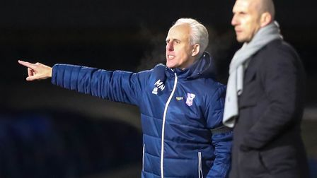 Town manager Mick McCarthy and Reading team manager Jaap Stam on the touchline. Picture: STEVE WA