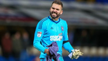 Bartosz Bialkowski celebrates after Towns 2-0 victory in the Ipswich Town v Reading match. Pictur