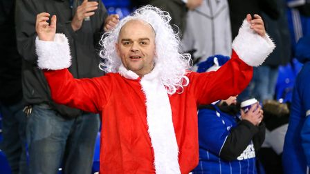 A festive Town fan at the Ipswich Town v Reading match. Picture: STEVE WALLER WWW.STEPHENWALL