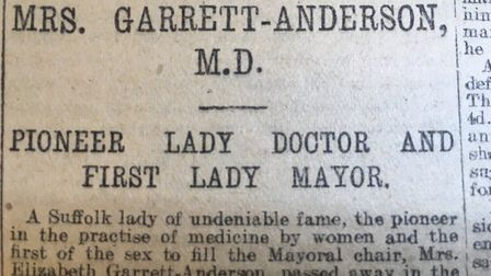 The Evening Star's long article about the achievements of Elizabeth Garrett Anderson. Picture: ARCHA