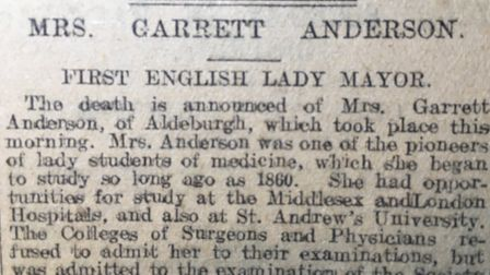 Readers learn from the Evening Star that Dr Elizabeth Garrett Anderson has died on Monday, December