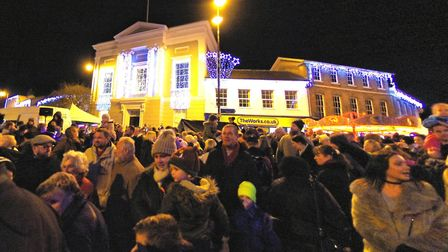 Crowds gather around Old Market Place at the Sudbury Christmas light switch on
