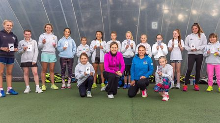 Emma Doyle (pink) and those who took part in' She Rallies' Coaching Day