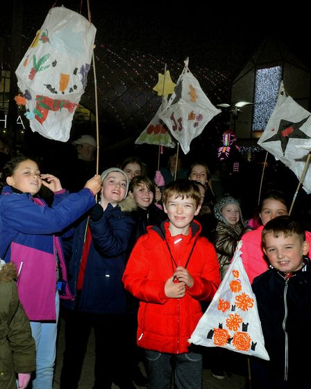 Youngsters with their lanterns. Picture: ANDY ABBOTT