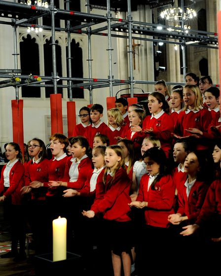 The Westley Campus signing choir at the EACH Carol Concert in the Cathedral. Picture: ANDY ABBOTT