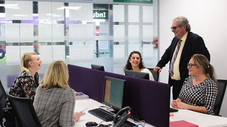 Just Recruitment managing director Peter Foy with staff at the Ipswich office