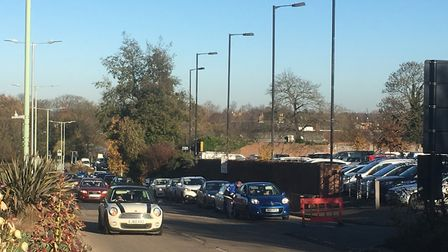 Motorists queue to get into the Arc car park in Bury St Edmunds this morning. Picture: MICHAEL STEWA